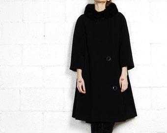 mink collar 50s swing coat
