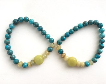 Turquoise and Olive Jade Stretch Bracelet // Gifts for Her // Gifts for Him