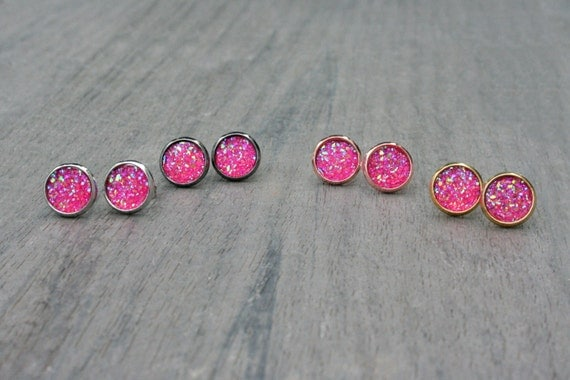 Pink Druzy Studs // Silver, Gunmetal, Gold or Rose Gold // Bridesmaid Gift // Gifts for Her // Wedding // Stocking Stuffer