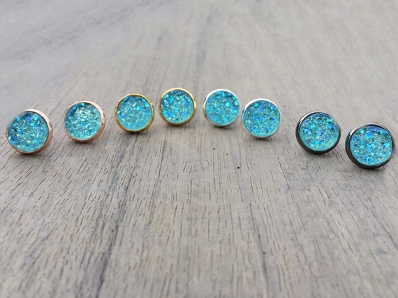 Large Aqua Druzy Studs // Silver, Gunmetal, Gold or Rose Gold // Bridesmaid Gift // Gifts for Her // Stocking Stuffer