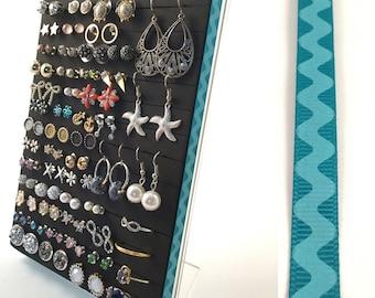 5x7 Earring Display - Turquoise Rick-Rack Ribbon - Earring Organizer - Leave Backs On