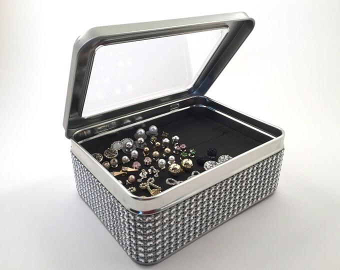 Tin Jewelry Box, Silver Jeweled  Ribbon, Earring Organizer