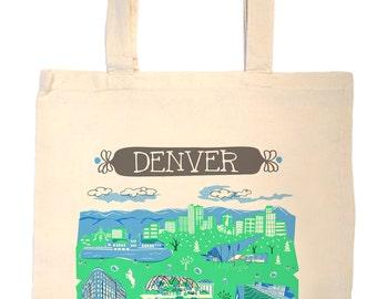 Denver Tote Bag-City Tote-City Bag-KC-Any City Tote-Blue-Green-Grey--Personalized-Custom