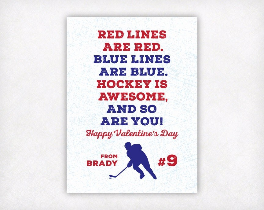 Personalized Kids Valentine Card Printable Hockey Valentines – Hockey Valentine Cards