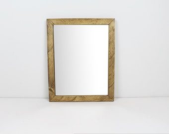 Solid Wood Rustic Modern Walnut Finish Wall Mirror/ Bathroom Mirror/ Vanity Mirror/ Entryway Mirror