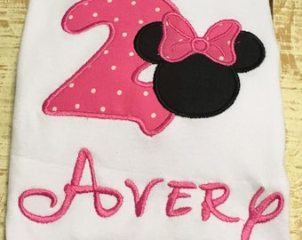 Pink Mouse Birthday Shirt- Personalized Girl Mouse Shirt- Mouse Party - Pink Mouse Shirt