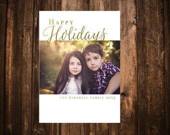 White and Gold Photo Christmas Card; Holiday, Printable or set of 10