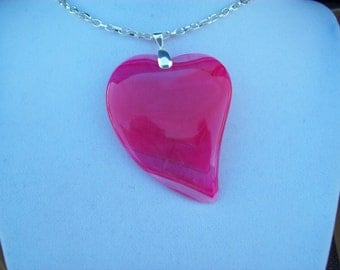 """Pink Striped Agate Heart pendant with chain 2-1/4"""" long"""