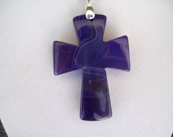 """Purple Agate Cross pendant with chain - 2"""" long"""