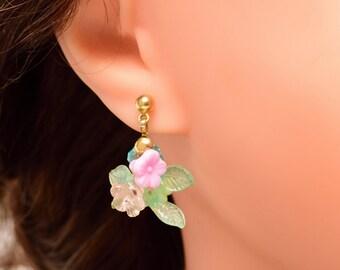 Flower Earrings, Pastel Colours, Retro Acrylic Earrings