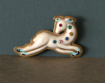 Celluloid Deer Fawn Brooch, Rhinestones and Brass, Early Plastic, 1940's