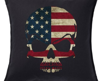 American Flag Skull Feather Throw Pillow