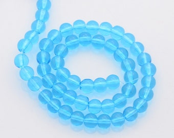 "Transparent Glass Beads Strands, Round, Medium Blue, 4mm, Hole:0.5mm; about 13""/strand, about 80pcs/strand    #062"