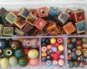 Porcelain Beads, Bead Box Kit 017 Handmade ~ Boho, Gypsy, 70's, Hippie Style! Glazed Round and Cube - Assorted Sizes 6-7mm, 8mm, 12mm, 15mm