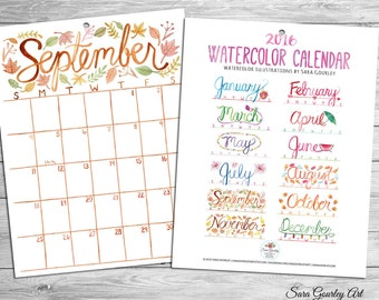 2016 Watercolor Wall Calendar, Hand Painted, Seasonal, Illustration, Gift for Her, Christmas Gift