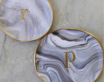 Personalized Marbled Grey and White polyer clay ring dish with Gold trim