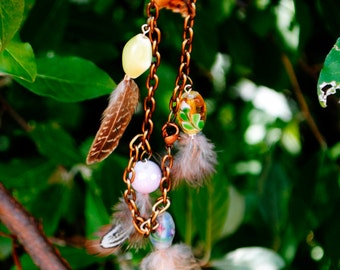 Feather and Bead Charm Bracelet