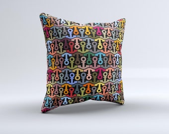 The Colorful Anchor Vector Collage Pattern ink-Fuzed Decorative Throw Pillow