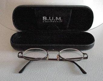 B.U.M. Equipment Small Eyeglasses with Original Case Metal Name Plate
