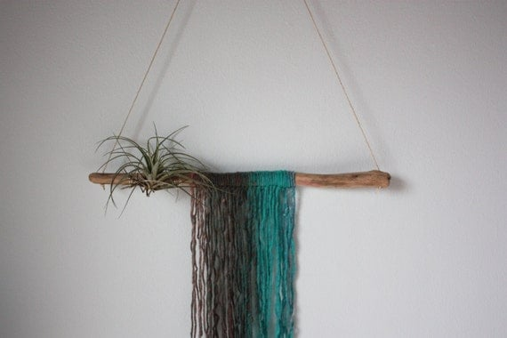 Driftwood air plant hanger wall hanging ocean for Air plant wall hanger