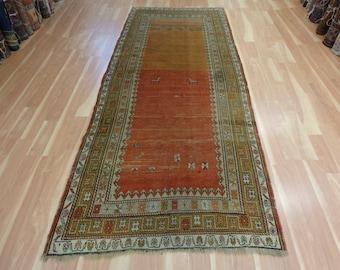 Antique Oriental Rug Runner 4' 1 x 10' 1 Rust Caucasian Rug