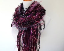 Fall Sale Chunky Knit Scarf - Hand Knit Scarf - Hand Tied Imported Yarns Violet Gray and Black Tones Fringe Accents One of a Kind Style