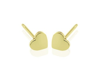 14K Yellow Gold 58.5% Stud Earring Yellow Heart  Love Small and lovely cute earring
