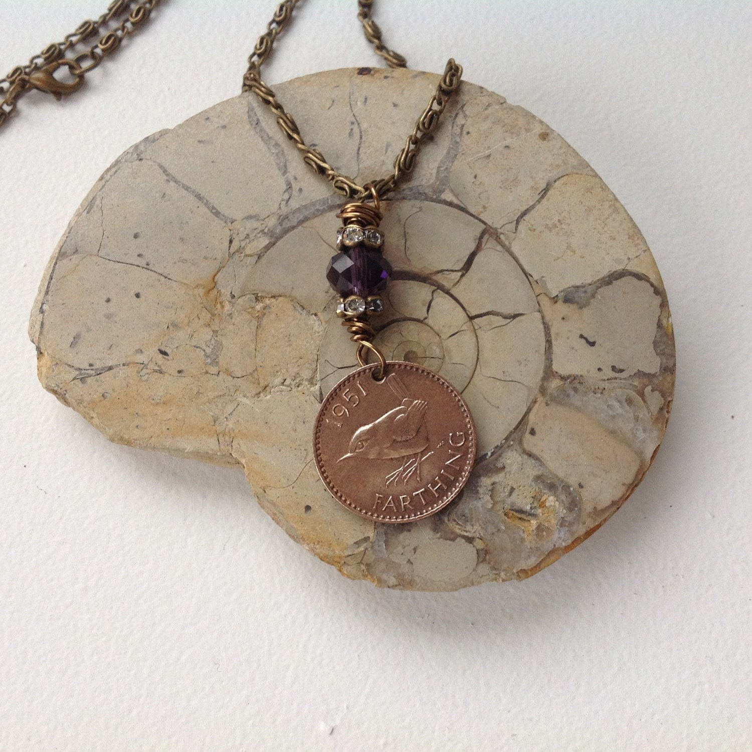 1951 farthing necklace coin jewelry wren by quirkygirlworkshop