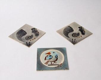 Three tiles by Dänischburg Villeroy & Boch, vintage, Germany
