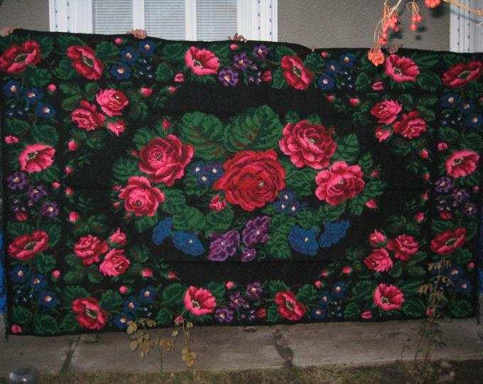 Bessarabian Kilim. Vintage Kilim, Handmade 45 years old, handmade.rose carpet, Ukrainian, Bessarabian carpet, ber