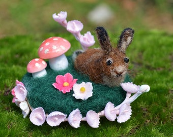 Spring Hare Scene one of a kind wool sculpture