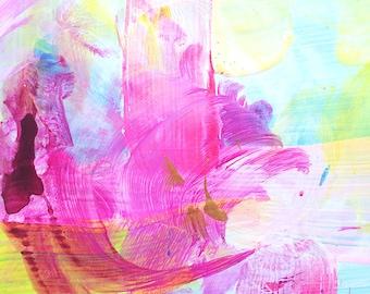 Handpainted postcard (acrylic on paper) 15/16 - original abstract mini painting, wall art, interior design, homedecor, neon