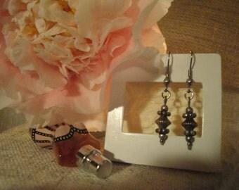 Earrings-Silver Beads- 1.25 E127