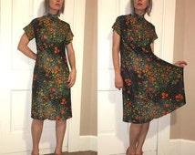 Vintage 60's PSYCHEDELIC Silky Floral RETRO RoCKABILLY Swing Dress