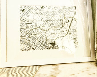 Vintage Valley View Map Print & Frame