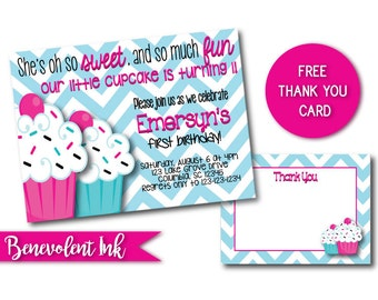 Cupcake Birthday Invitation - Printable Cupcake Theme 1st Birthday Party Invite - First Birthday Girl - 1st Birthday Girl