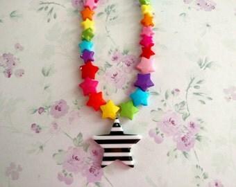 Rainbow Star Beads Kawaii Beaded Necklace