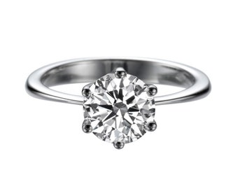 14K White Gold 2 CT White Sapphire Engagement Ring Classic 6 prongs Solitaire Engagement Ring
