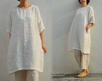 497---Washed Linen Tunic Top, Off White Blouse, Linen Dress.
