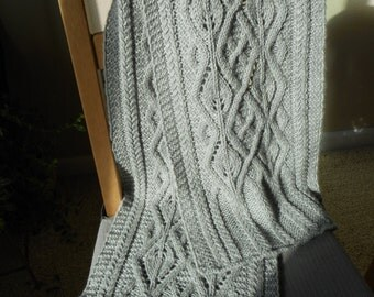 Hand Made Cable Scarf Knit with a Gray 100% Wool Yarn