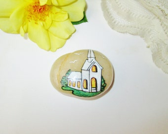 Hand Painted Rock Stone 2 Side Painted Church & Scripture Rock Paperweight Spiritual Religious Christian Bible Verse Comfort Home Garden Dec
