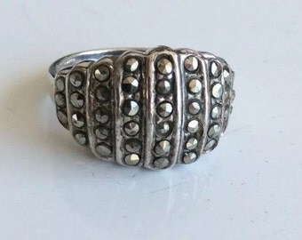 Vintage Marcasite Sterling Silver Band Ring