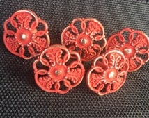 Shabby Chic Red Ornate Pierced Metal Drawer Pulls