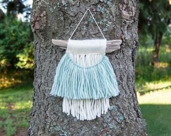 Half Moon Driftwood Wallhanging - wool, fiber, boho, wall art, roving