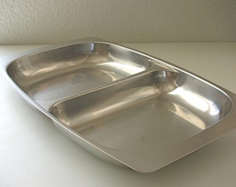 18/8 Large Danish Modern Stainless Steel Divided Dish Retro Relish Dish Rimmed Serving Selandia Made in Denmark