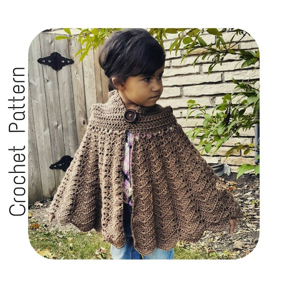 Easy Crochet PATTERN Hooded Cape CHILD Size Cloak Pattern