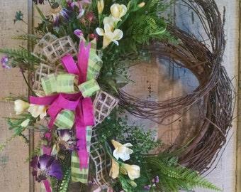 Silk Flower Wreath-Grapevine Wreath-Front Door Wreath-Summer Wreath for Front Door-Porch Decor-Wreaths and Door Hangers