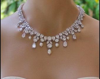 Bridal necklace etsy crystal necklace crystal bridal necklace crystal bridal jewelry crystal wedding necklace wedding junglespirit Images
