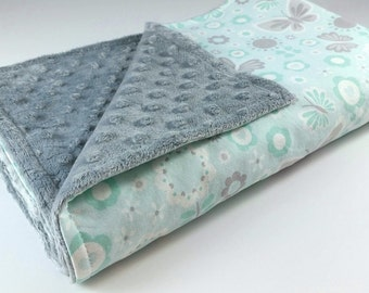 Baby Blanket - MADE TO ORDER - Butterfly Baby Blanket - Baby Bedding - Gray Aqua Baby Blanket - Butterfly Minky- Minky Blanket - Cot Blanket