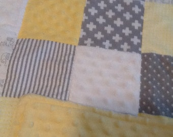 Baby Patchwork Quilt Gray and Yellow Elephant, Giraffe, Zebra, Rabbit, Sheep, Solid Yellow Minky Backing 35 x 44 inches